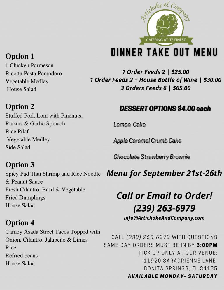 Take Out Aug 21st-26th